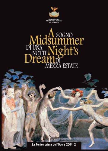 """""""A Midsummer Night's Dream"""" - libretto di sala - Teatro La Fenice"""