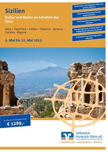 Reiseprospekt Sizilien 2013 - Volksbank Hunsrück-Nahe eG