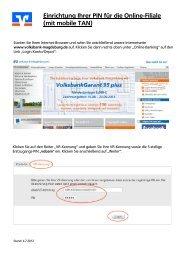 Erstanmeldung in der Online-Filiale mit mobileTAN - Volksbank ...