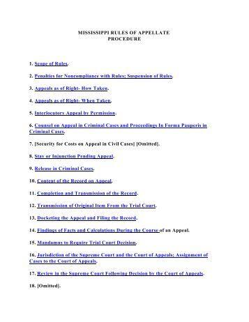 Mississippi Rules Of Civil Procedure >> Mississippi Rules Of Court Civil Procedure
