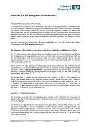 Merkblatt für den Einzug von Auslandsschecks - Volksbank Tettnang ...