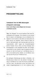 Volksbank Trier im UNO-Aktionsjahr erfolgreich unterwegs