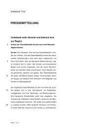 PRESSEMITTEILUNG - Volksbank Trier eG