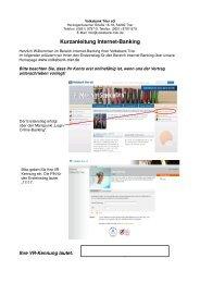 Kurzreferenz Online-Banking NEU - Volksbank Trier eG