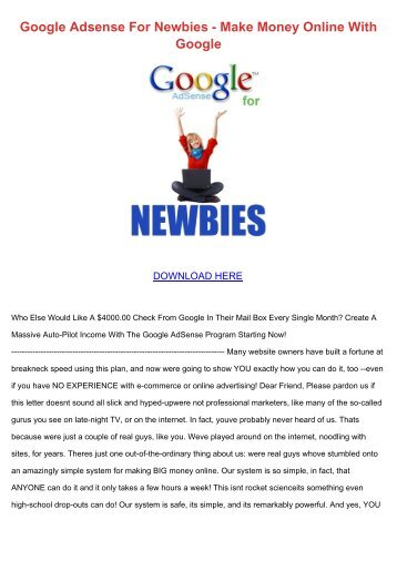 Google Adsense For Newbies - Make Money Online With Google
