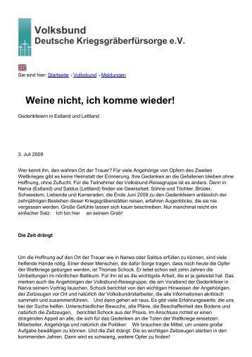 Volksbund Weine nicht, ich komme wieder! - Volksbund Deutsche ...