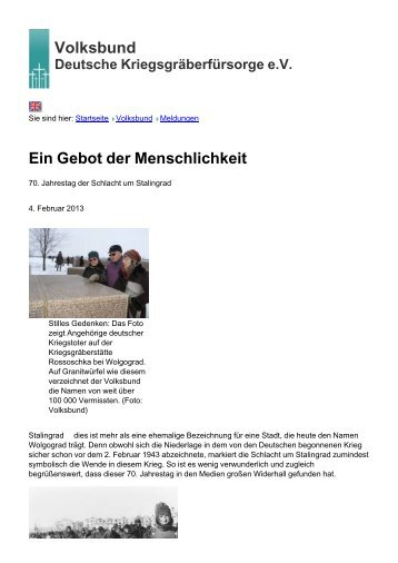 Volksbund Ein Gebot der Menschlichkeit - Volksbund Deutsche ...