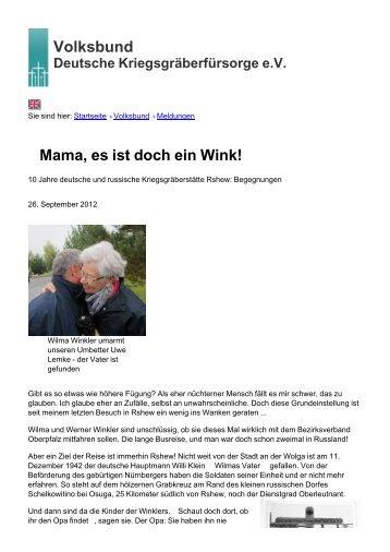 Volksbund Mama, es ist doch ein Wink! - Volksbund Deutsche ...