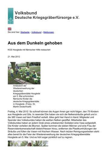 Volksbund Aus dem Dunkeln gehoben - Volksbund Deutsche ...