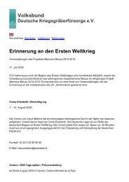 Erinnerung an den Ersten Weltkrieg - Volksbund Deutsche ...