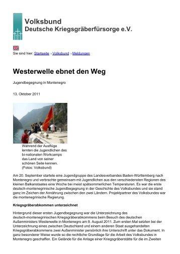 Volksbund Westerwelle ebnet den Weg - Volksbund Deutsche ...