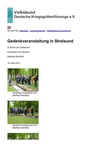 Volksbund Gedenkveranstaltung in Stralsund - Volksbund Deutsche ...