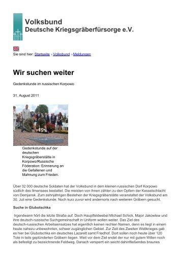 Volksbund Wir suchen weiter - Volksbund Deutsche ...