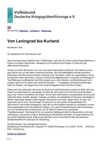 Volksbund Von Leningrad bis Kurland - Volksbund Deutsche ...