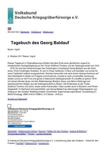 Volksbund Tagebuch des Georg Baldauf - Volksbund Deutsche ...