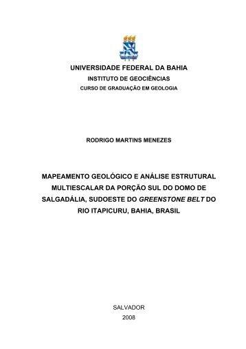 universidade federal da bahia mapeamento geológico e análise ...