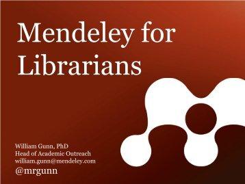 Mendeley for Librarians