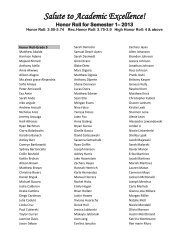 Salute to Academic Excellence! Honor Roll for Semester 1– 2013