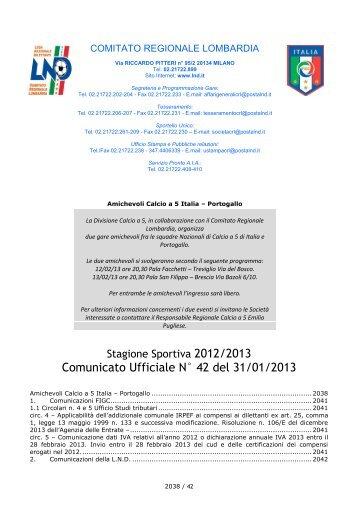 comunicato regionale Lombardia n. 42 del 31 gennaio ... - Lariosport