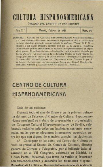 cultura hispanoamericana - DSpace en la UNIA - Universidad ...