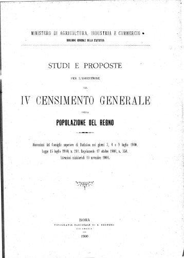 IV CENSIMENTO GENERALE - Istat