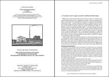 Corso di Storia Economica PROCESSI DI SETTORIALIZZAZIONE E ...