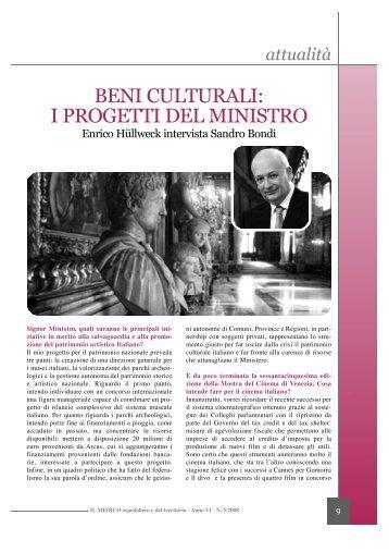 BENI CULTURALI: I PROGETTI DEL MINISTRO - CIMO ASMD
