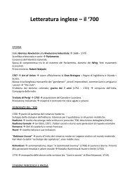 Letteratura inglese – il '700 - Appunti