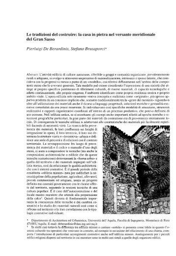 Le tradizioni del costruire - Architettura ed urbanistica