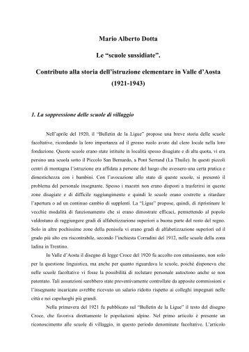 """Mario Alberto Dotta Le """"scuole sussidiate"""". Contributo ... - Storiavda.it"""