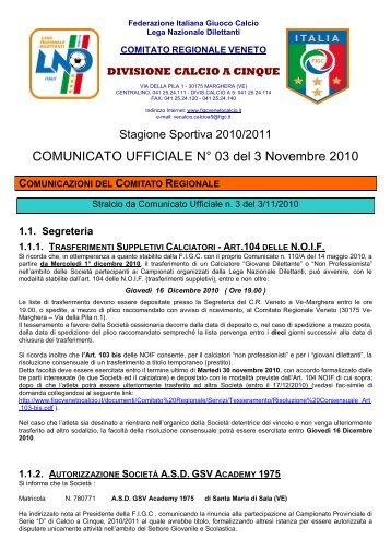 COMUNICATO UFFICIALE N° 03 del 3 Novembre ... - PSV Calcio a 5