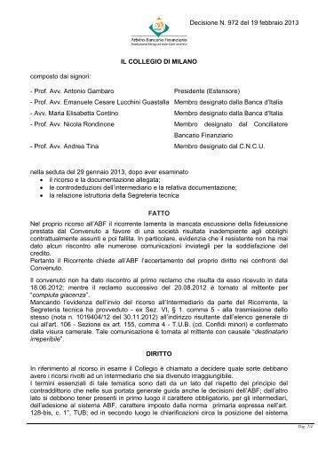 Decisione N. 972 del 19 febbraio 2013 - Arbitro Bancario Finanziario