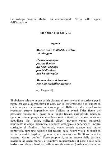 Valeria Martini, Ricordo di Silvio - Portale per l'educazione