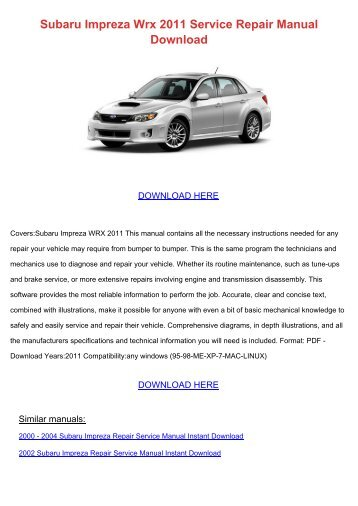 Subaru impreza pdf service repair workshop manual 1993 1996 fandeluxe Images