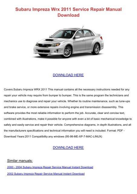 Subaru Impreza Wrx 2011 Service Repair Manual Download