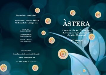 Associazione Culturale di promozione e divulgazione delle ... - Astera