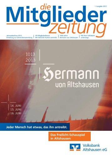Mitgliederzeitung I 2013 - Volksbank Altshausen eG