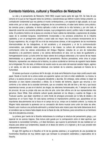 Contexto histórico, cultural y filosófico de Nietzsche