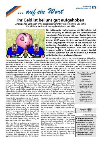 auf ein Wort - Ausgabe Oktober 2008 - Volksbank Börde-Bernburg eG