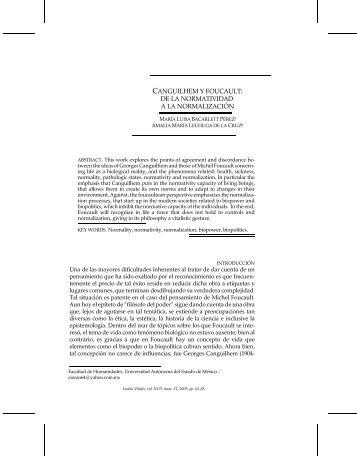 CANGUILHEM Y FOUCAULT: DE LA ... - Ludus Vitalis
