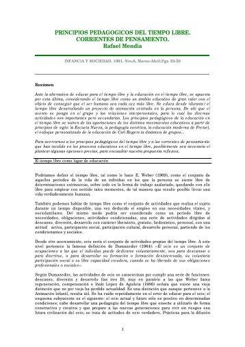 PRINCIPIOS PEDAGOGICOS DEL TIEMPO LIBRE. CORRIENTES ...