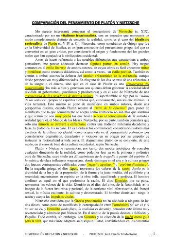 comparación del pensamiento de platón y nietzsche - Juan Ramón ...