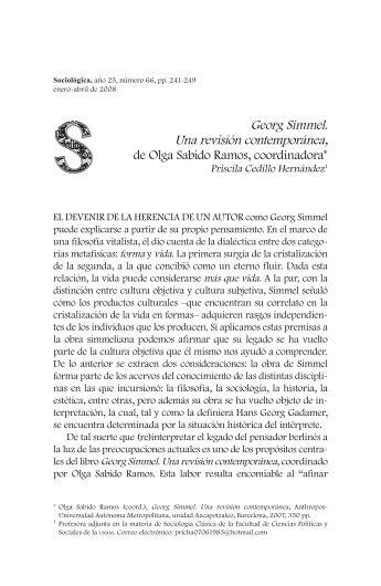 Georg Simmel. Una revisión contemporánea, de Olga Sabido ...