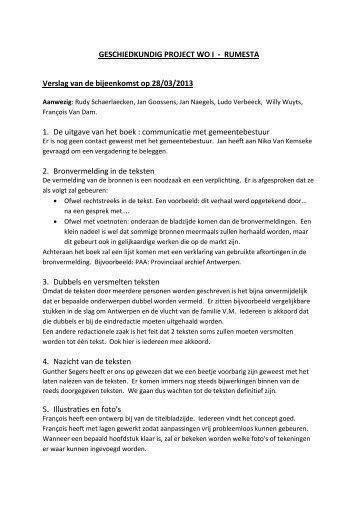 GESCHIEDKUNDIG PROJECT WO I - RUMESTA Verslag van de ...