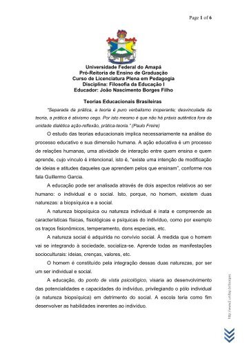 Teorias Educacionais Brasileiras - Unifap