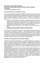 Protocollo di studio delle strutture vascolari recidivate :