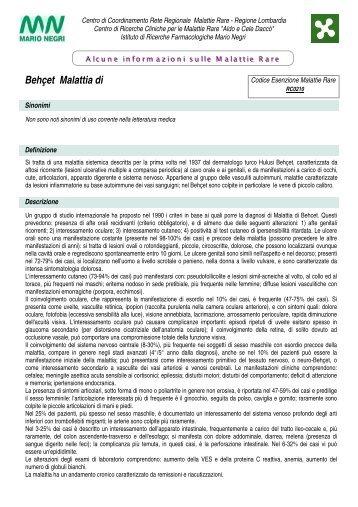 behcet malattia di - Centro di Coordinamento per le Malattie Rare ...