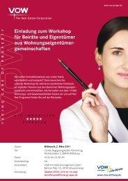 Einladung zum Workshop für Beiräte und Eigentümer aus ... - VOW AG