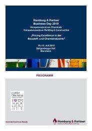 Einladung Business Day 2010 CC Chemicals - Homburg & Partner