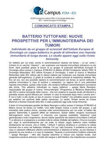 batterio tuttofare: nuove prospettive per l'immunoterapia dei tumori